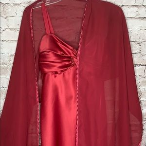 Red wine Dessy Collection dress with shawl
